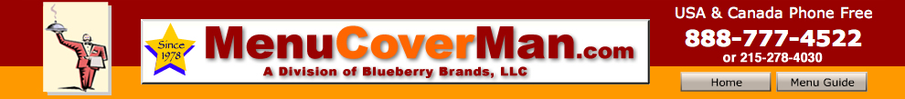 Menucoverman.com offers you excellent and friendly customer service, and over 50 different styles of menu covers for fast delivery.
