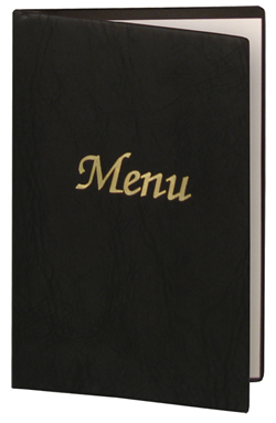 Black colored vinyl menu covers are oh so affordable.