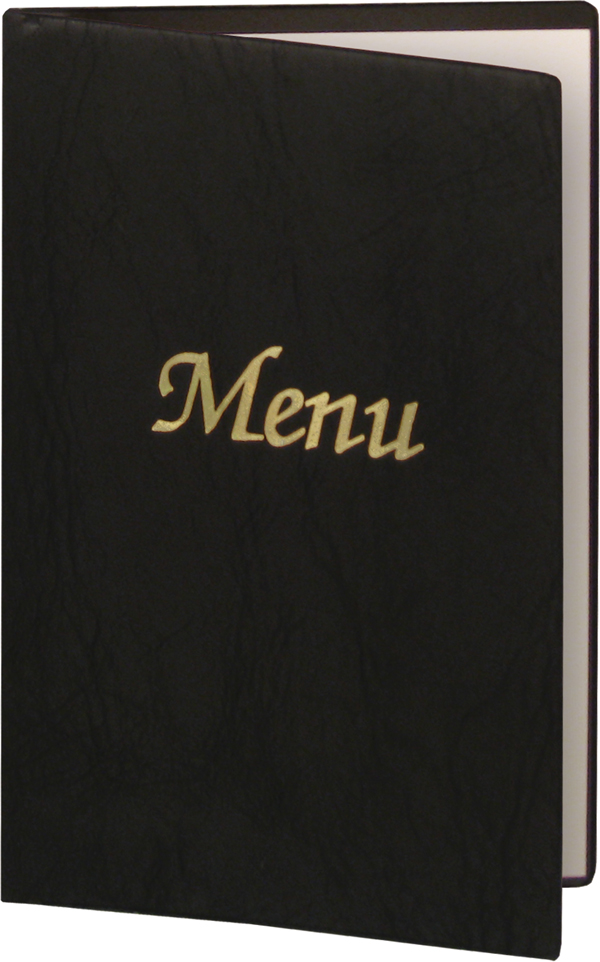 Black vinyl menu covers.