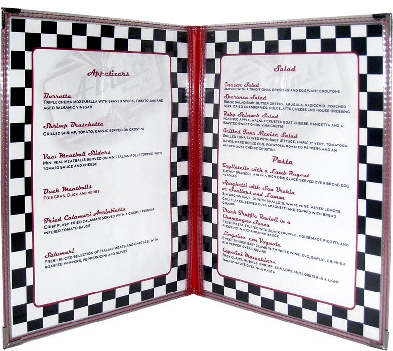 Clear Stitched Edge Menu Covers