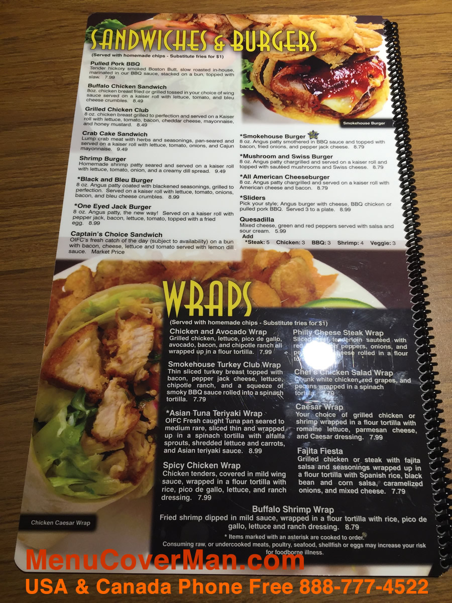 H2O MenuCoverMan.com spiral bound permananetly printed water-proof menu covers for chain restaurants.
