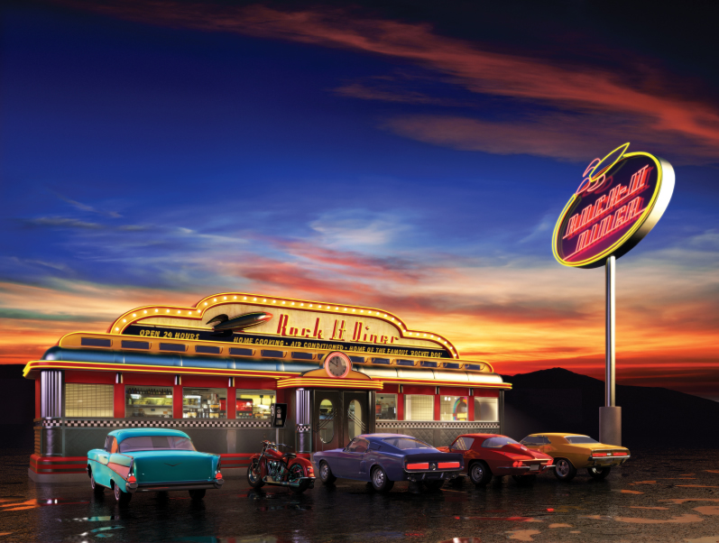 The famous Rock-It Retro 50's diner.