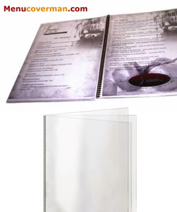 All clear spiral bound menu covers.