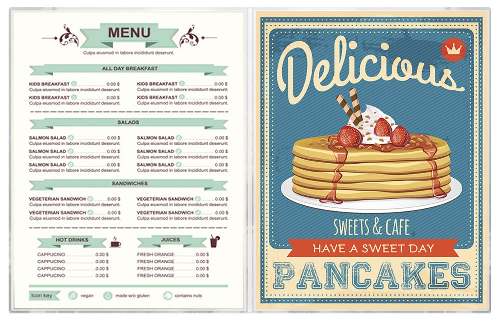 All clear vinyl menu covers are economical and perfect for your restaurant.