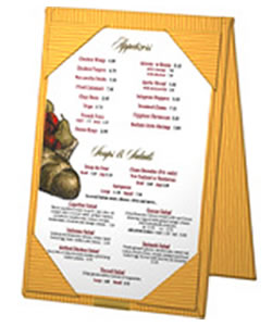 Table tents, including this elegant Bistro table tent, assist you in increasing your average ticket size.