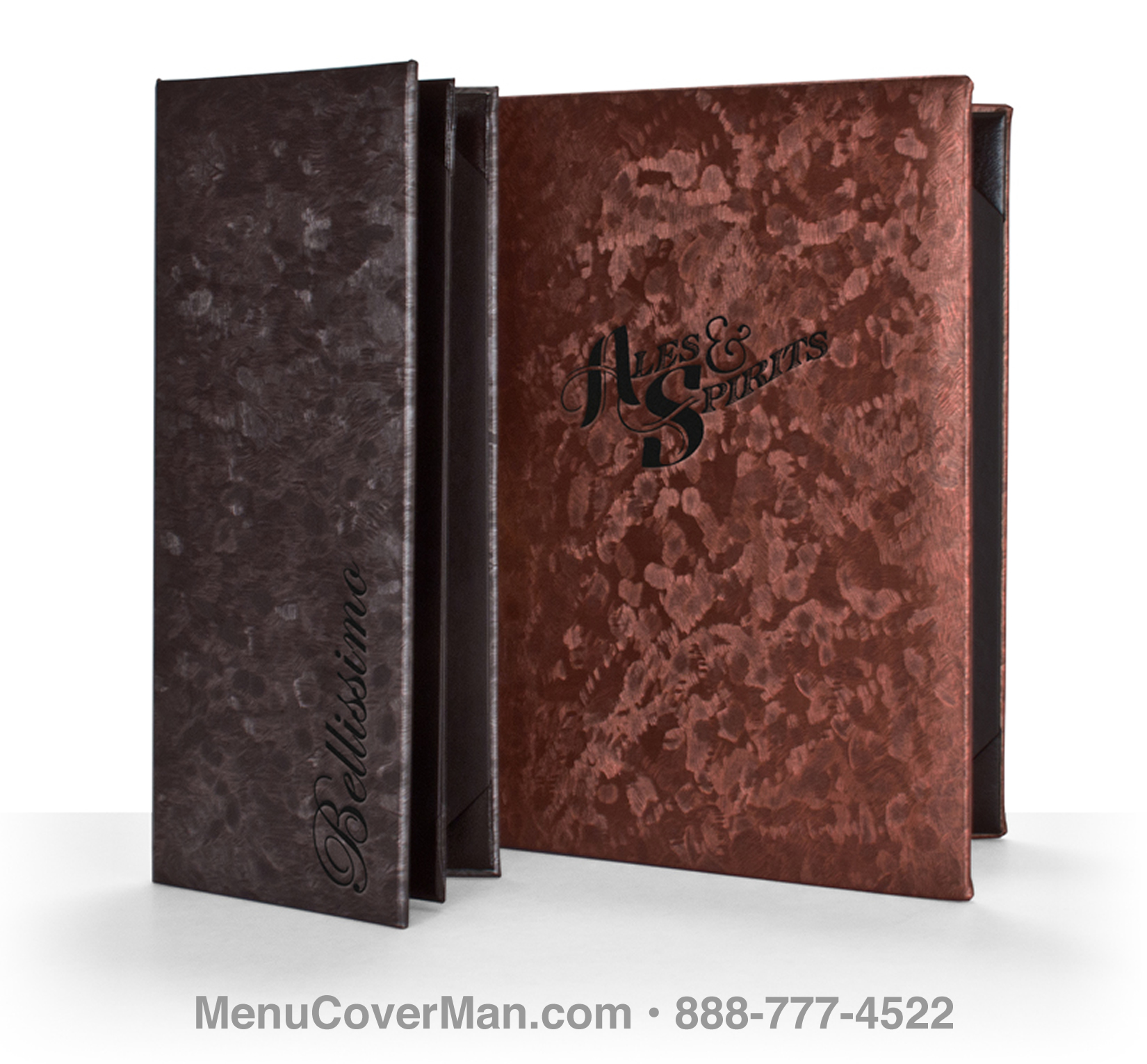 Brushed Metallic Menu Covers Frontspiece.