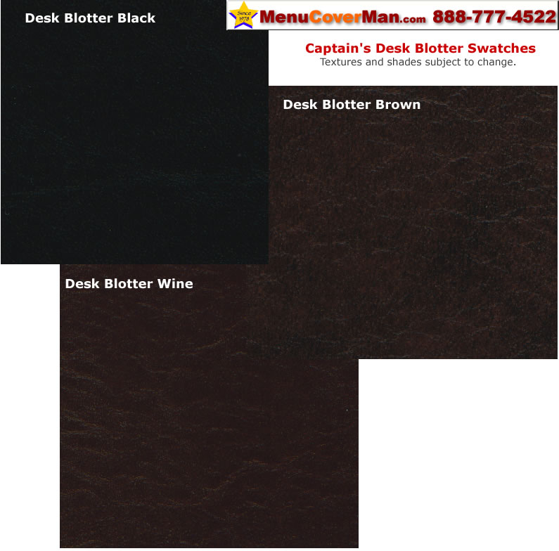 Captain's desk blotter color swatches.