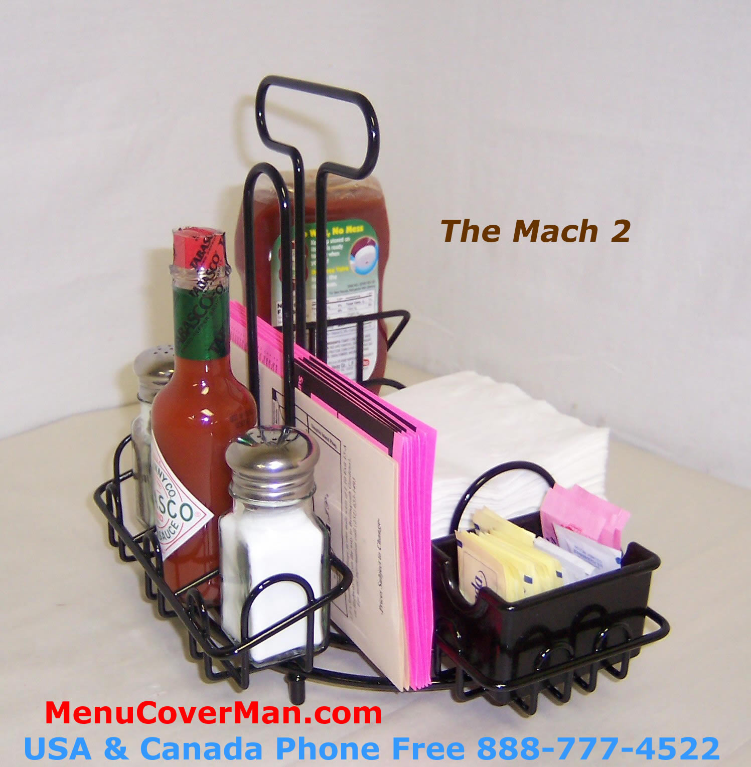 Condiment and napkins caddy holder for restaurants.