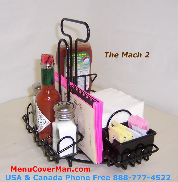 Condiment caddy holder with integral napkin holder for restaurant use.