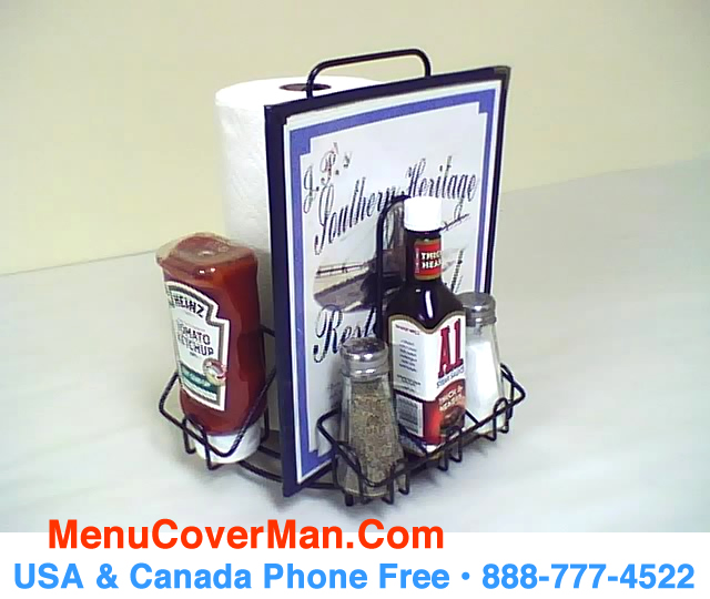 Menu and condiments holder for restaurants.