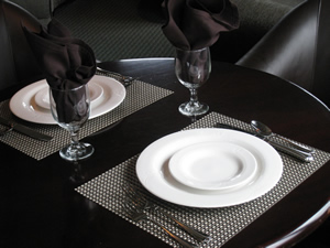 Woven casual dining placemats are easy to clean.