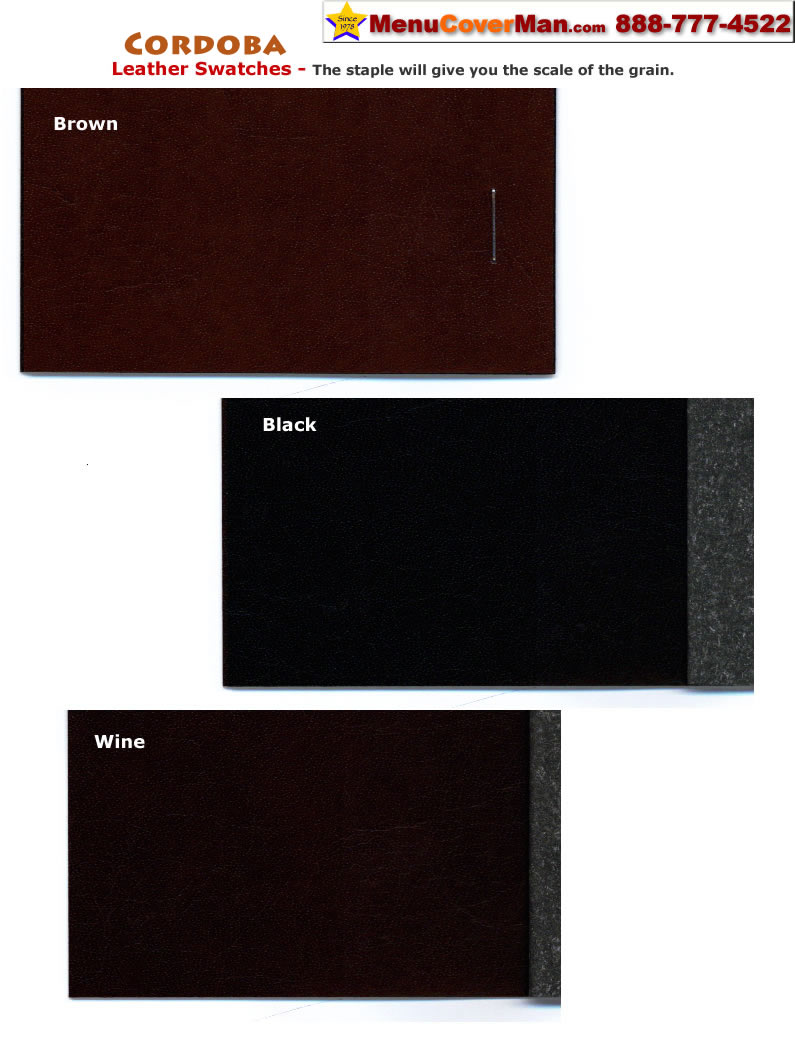 Tuxedo leather menu cover swatches from the Menucoverman.