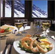food with an alpine view