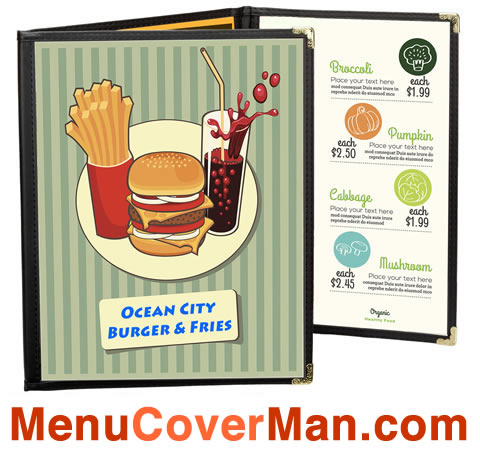 Excellent quality cafe menu covers instock and ready to ship out today. MenuCoverMan.com