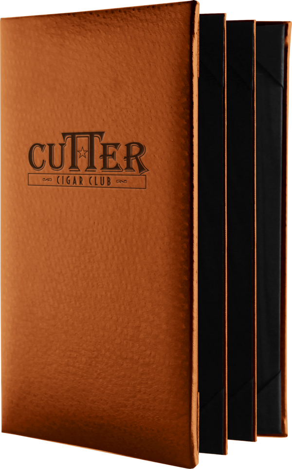 Gold and country club clubhouse restaurant menu covers.  Chesterfield from Menucoverman.com is your best choice.