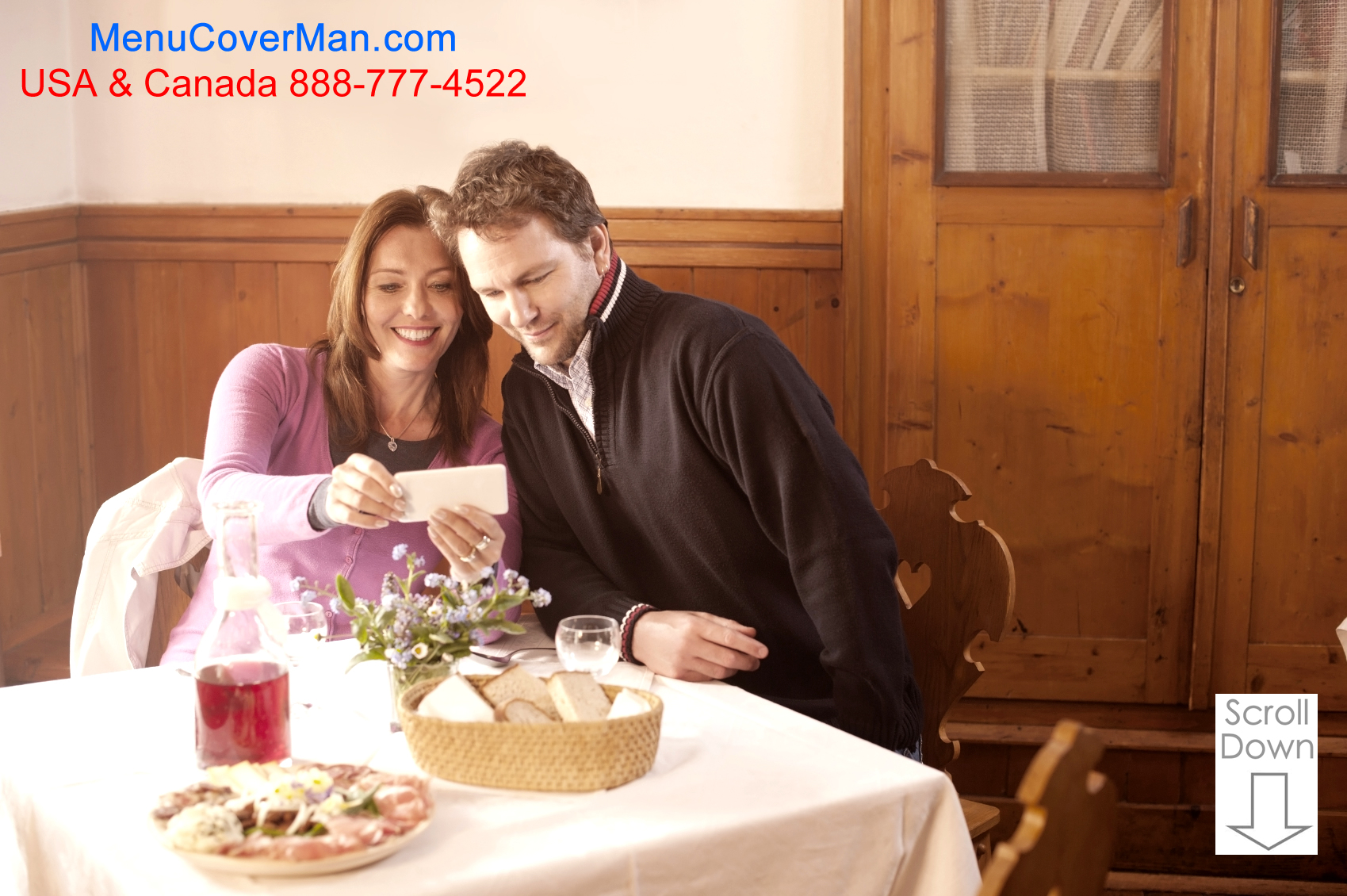 Happy couple ordering from the Pinehurst Menu Covers selection at Menucoverman.com.