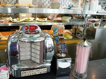 Jukebox on the counter.