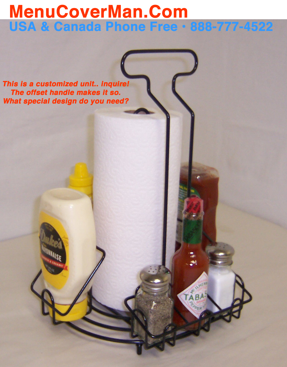 Customized wire condiment holder with offset handle.