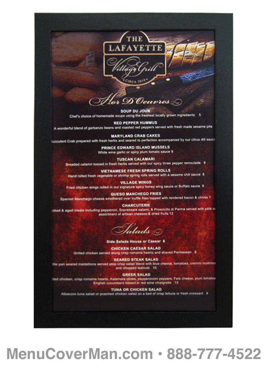 Menu Frames for Restaurants • MenuCoverMan.com