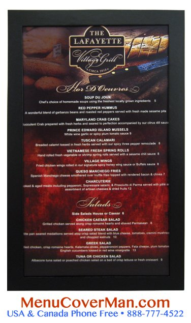 Inexpensive imprinted menu covers.