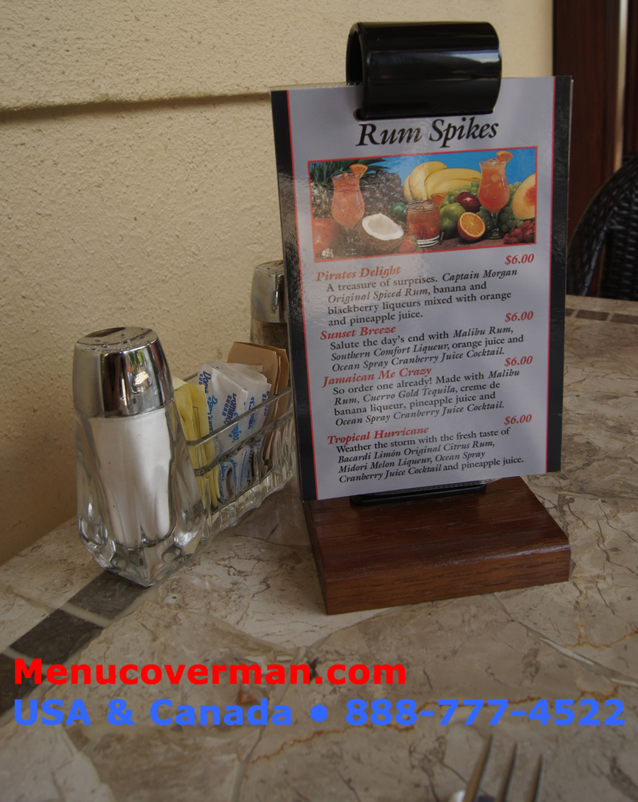 The menu roll stand is an excellent way to showcase specials, drinks, and appetizers at all of your restarurant's tables.