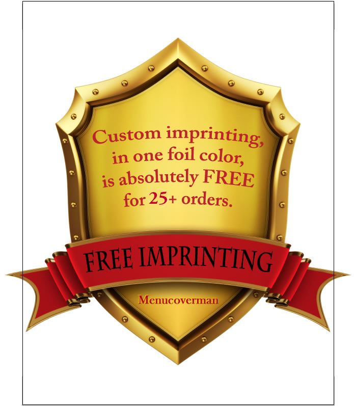 free imprinting for menu covers