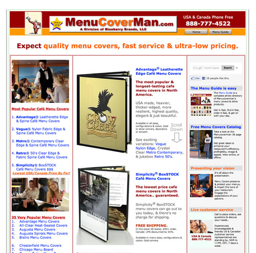 Menucoverman home page link.