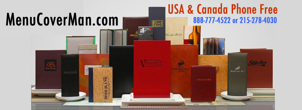 Menucoverman menu covers range of USA made menu covers products.