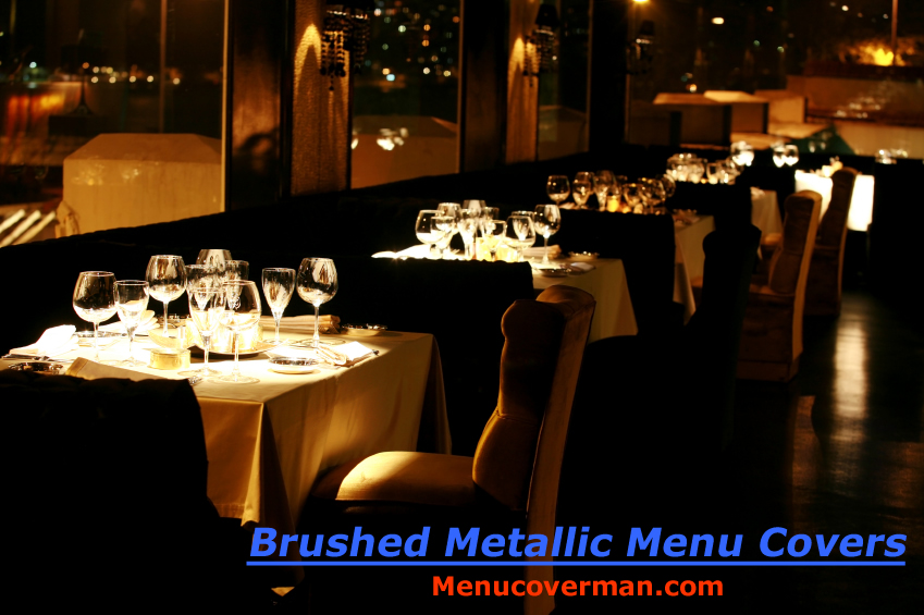 Brassy and classy... Brushed Metallic Menu Covers from Menucoverman.com