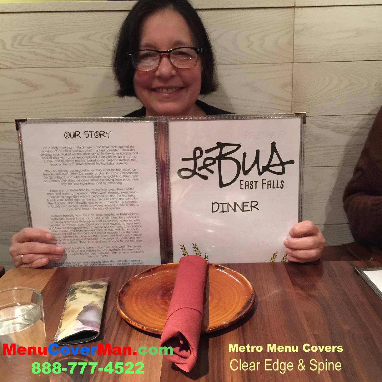 Metro menu covers in use at Le Bus Restaurant East Falls Philadelphia.