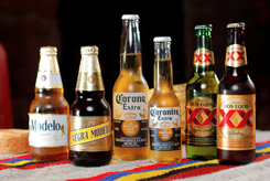 Mexican beers on parade.
