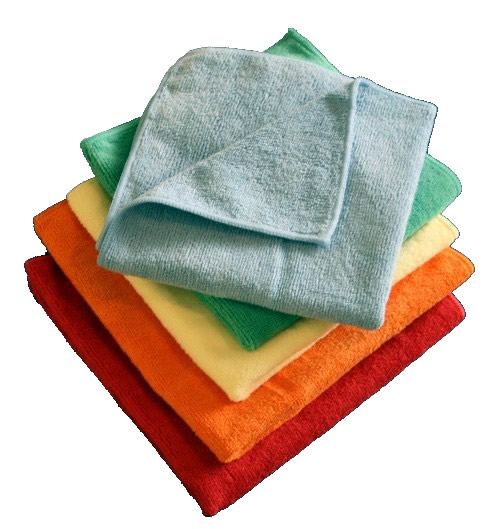 Microfiber cleaning cloths.