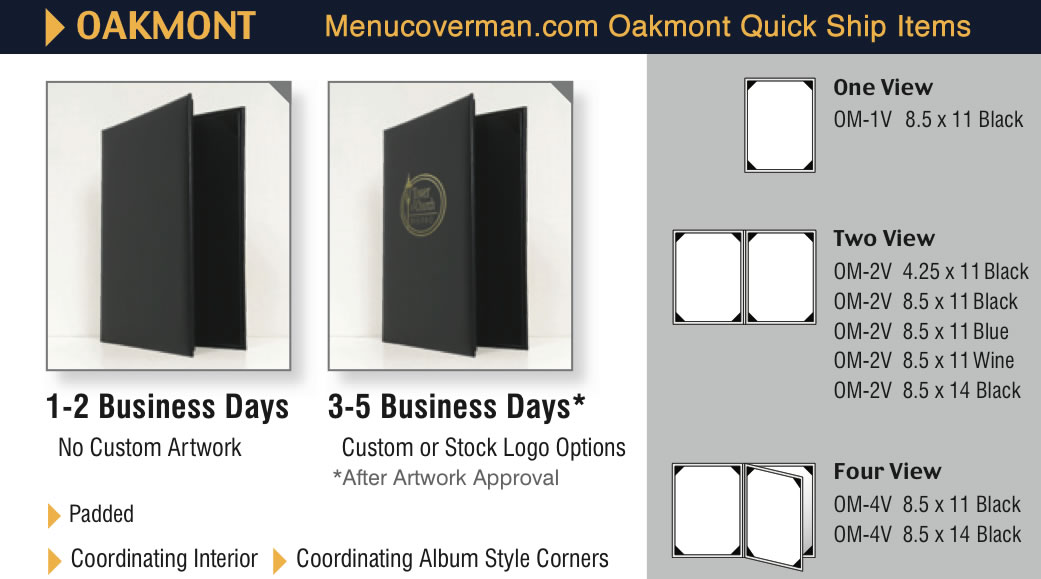 Oakmont menu covers quick ship program items.