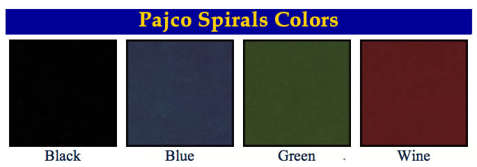 Pajco Spirals menu covers available colors.