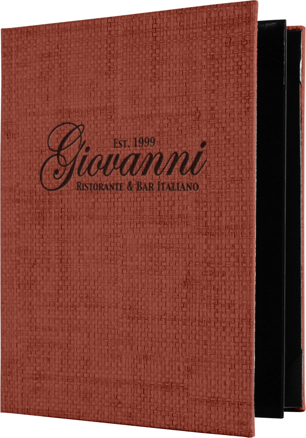 Pan-Asian Custom Imprinted Rattan Menu Covers from Menucoverman.com