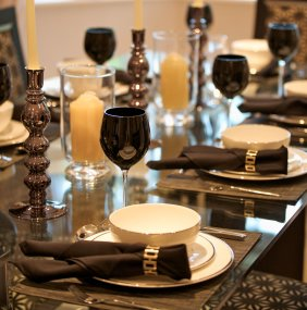 Genuine leather restaurant placemats complete your setting.