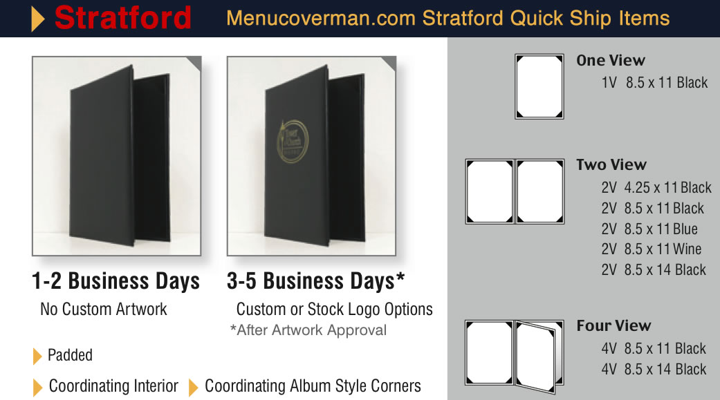 Stratford menu covers quick ship program items.