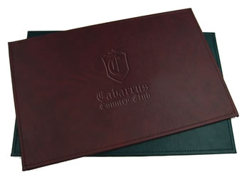 Embossed simulated leather  table mats for restaurants.