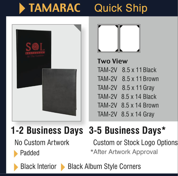 Tamarac Quick Ship Chart for in-stock menu jackets.