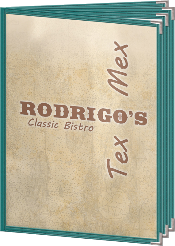 Colorful edge menu covers for Mexican restaurants.