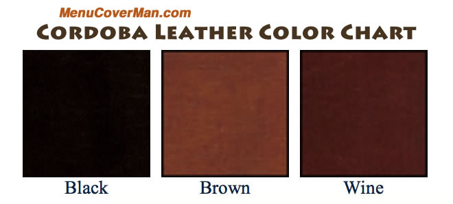 Tuxedo Leather Menu Cover Colors.