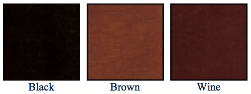 color chart for leather menu covers