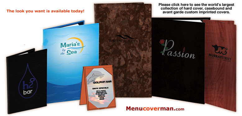 Menucoverman casebound and custom imprinted menu covers.