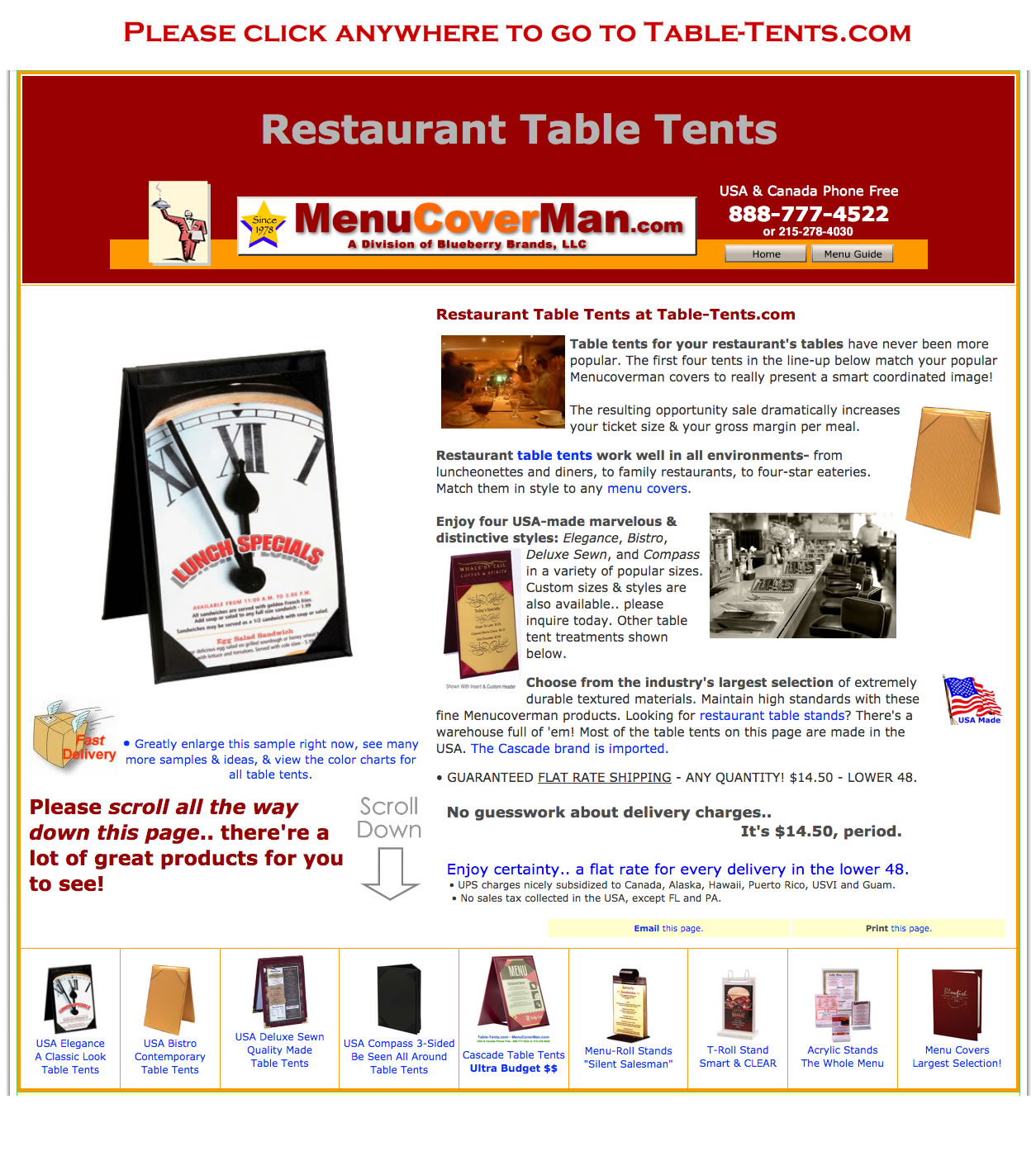 Table Tents For Restaurants - Table tent stands